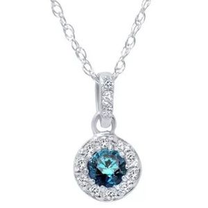 Jewelry - 1/4ct Blue Diamond Halo 14K White Gold Pendant